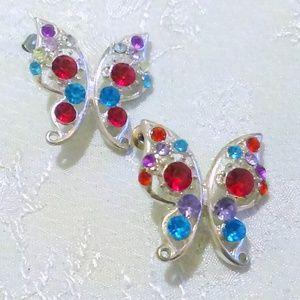 Multi Color Rhinestone Butterfly Earrings